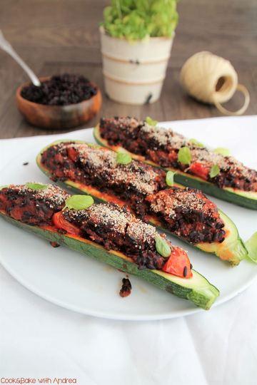 Rezept Zucchinischiffchen mit Reisfüllung [vegan]