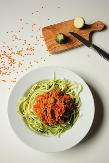 Rezept Zucchinispaghetti mit Linsenbolognese