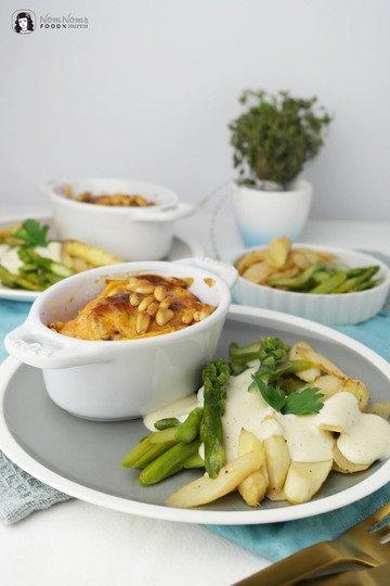 Rezept Zweierlei cremiger Vanille-Spargel mit Süßkartoffel-Auflauf (Werbung)