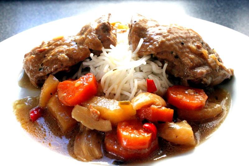Rezept Adobo inspiriertes Hühnerfleisch mit Kokosnuss Milch