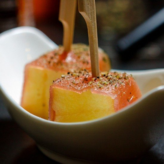 Rezept Ananas mit Graved Lachsschinken
