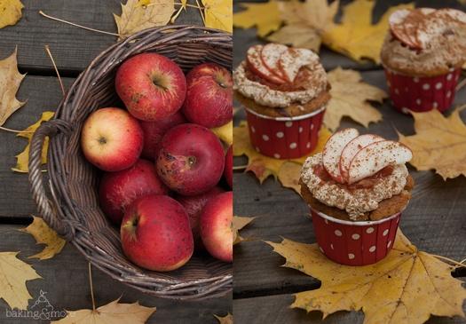Rezept Apfel-Haselnuss-Cupcakes mit Braunem-Zucker-Zimt-Frosting und Apfel-Topping