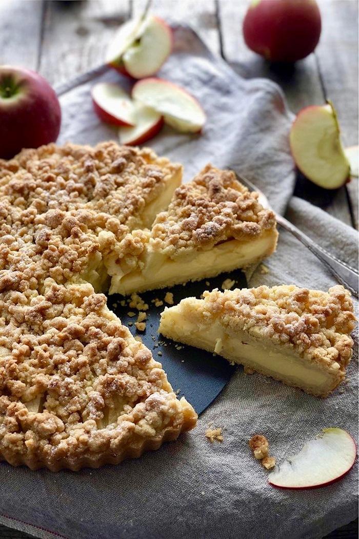 Rezept Apfel Streusel Tarte mit Vanillepudding