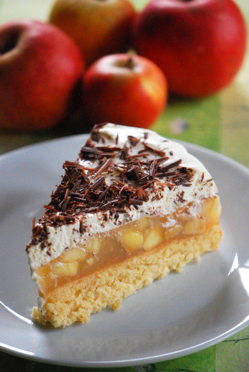 Rezept Apfel-Torte mit Quark-Creme & Schokolade (nussfrei)