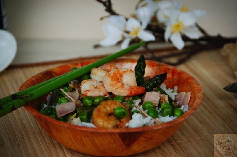 Rezept Asia Garnelen mit Schinken, grünem Spargel und Erbsen