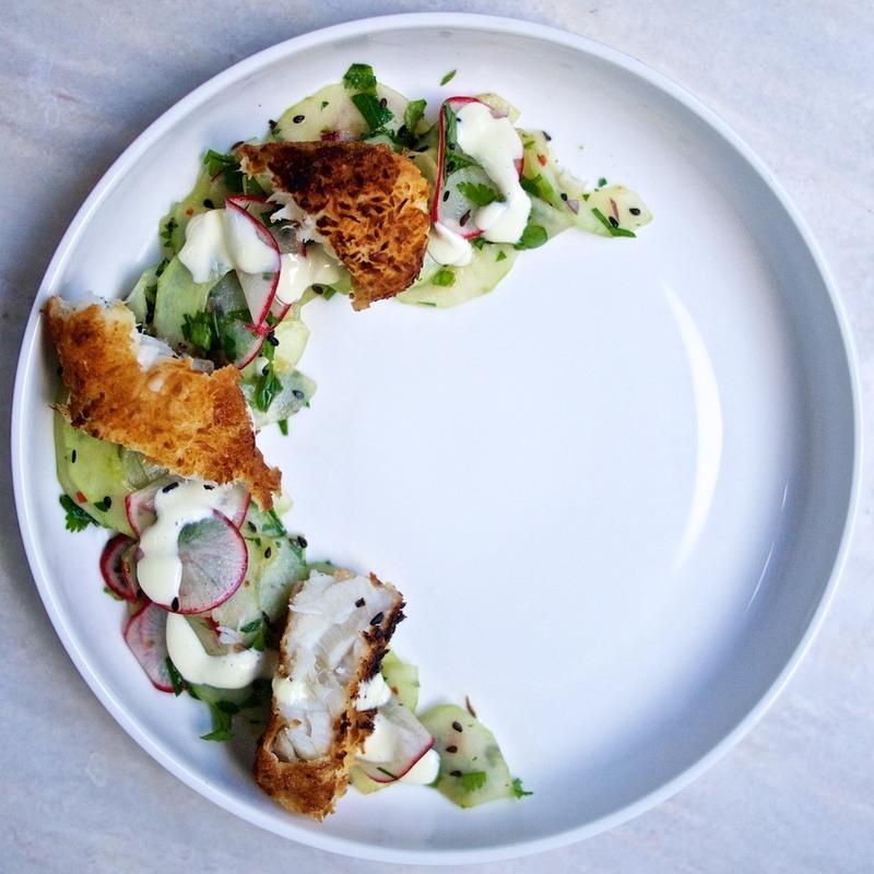 Rezept Asiatische Fischstäbchen mit Gurken-Radieschensalat und Wasabi-Remoulade