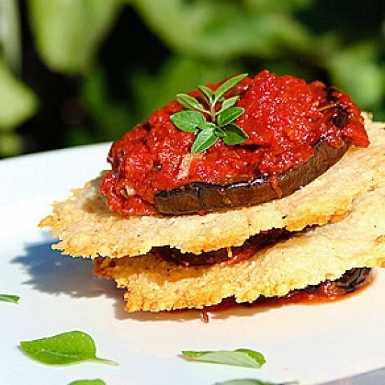 Rezept Auberginen Millefeuille mit Parmesan Chips