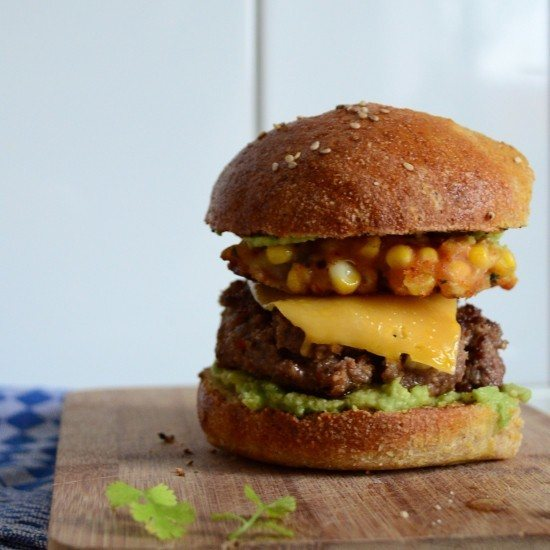 Rezept Avocado Beef Burger & Corn Fritters