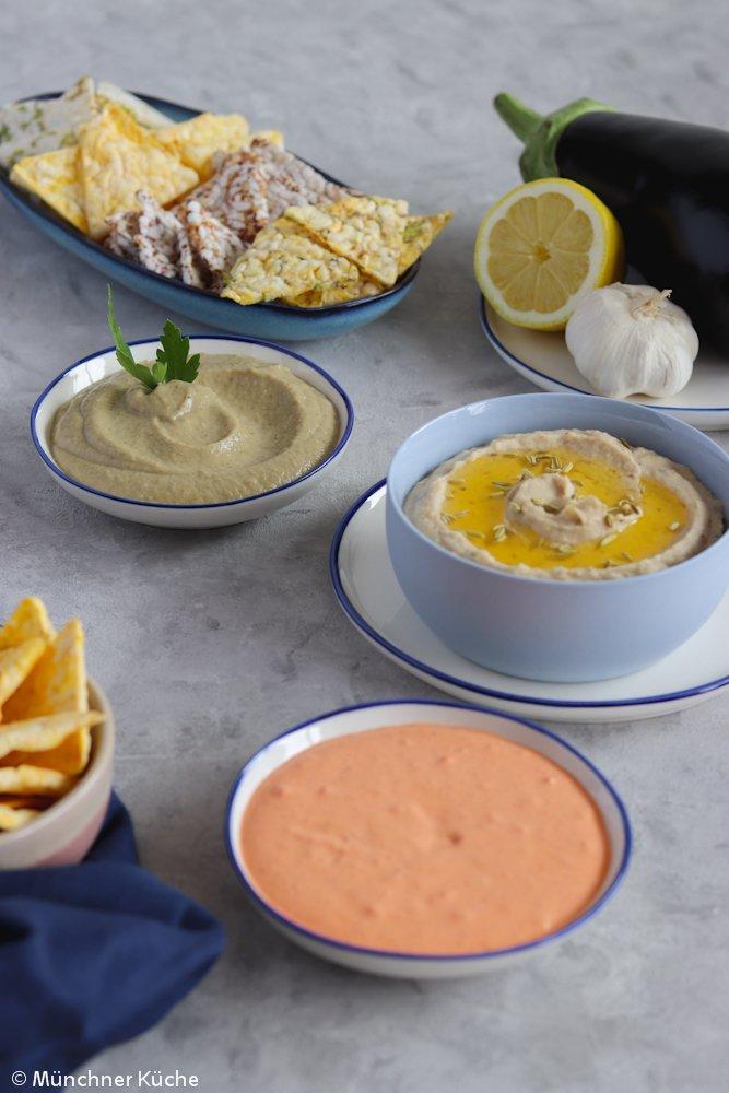 Rezept Baba Ghanoush, Tomaten-Ajvar-Dip & Weiße-Bohnen-Dip