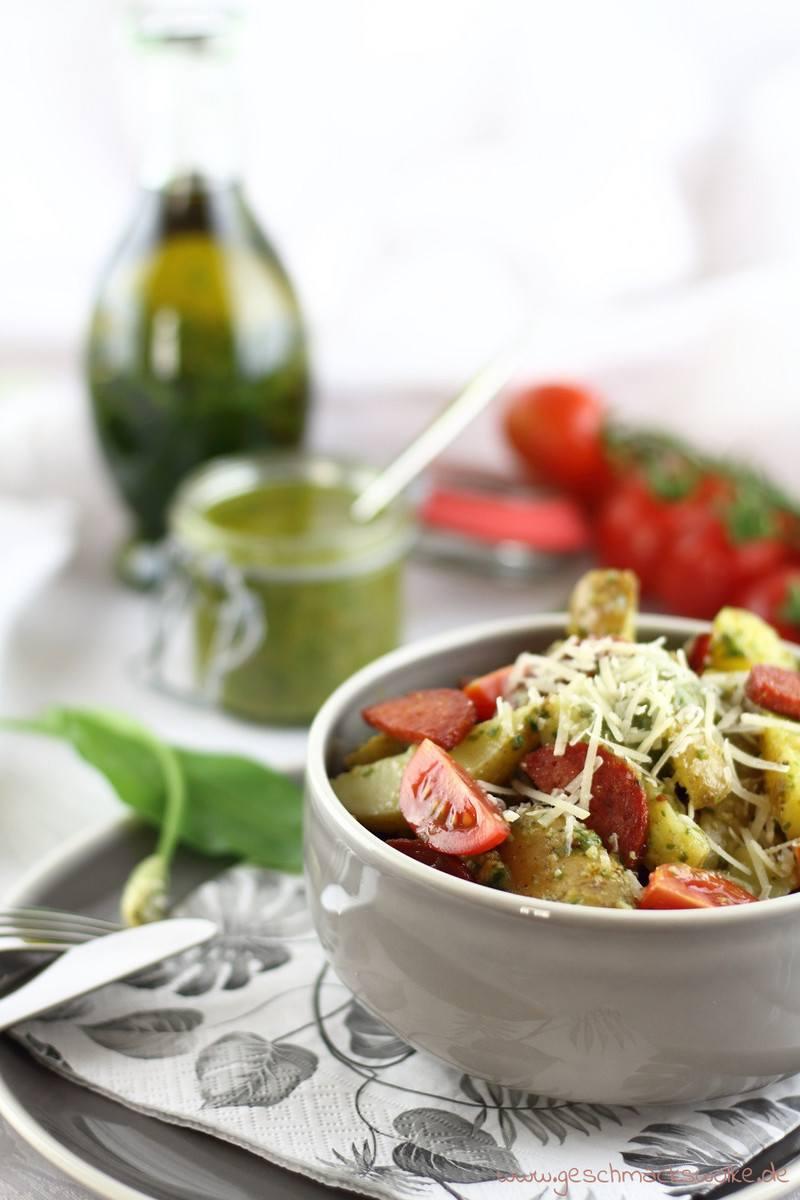 Rezept Bärlauch-Kartoffelsalat mit Chorizo und Tomaten