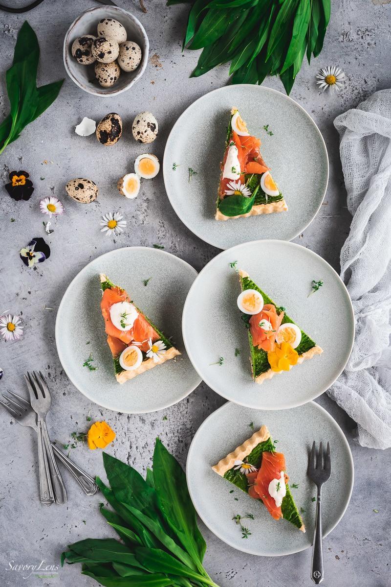 Rezept Bärlauch-Spinat-Tarte mit Wildlachs