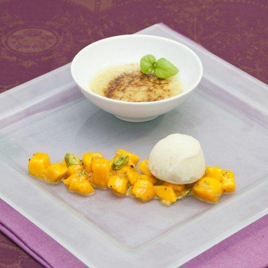 Rezept Basilikumsorbet mit Pistazien Crème brûlée und Mangoragout