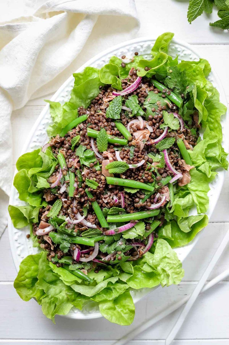 Rezept Beluga Linsen Salat mit grünen Bohnen & Zitrone-Minz-Dressing