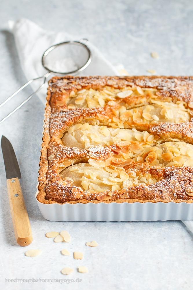 Rezept Birnen-Mandel-Tarte mit pochierten Vanille-Birnen