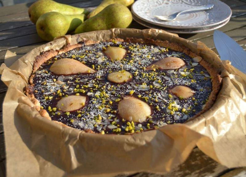 Rezept Birnen-Schokoladentarte mit Mandeln
