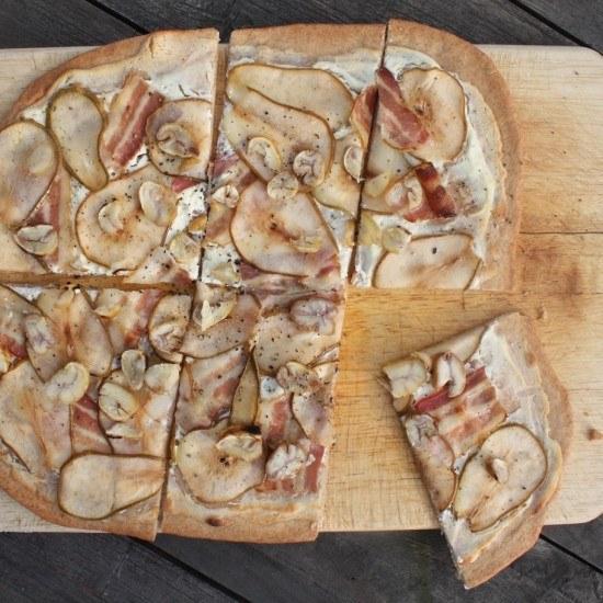 Rezept Birnen-Speck-Flammkuchen mit Maronen