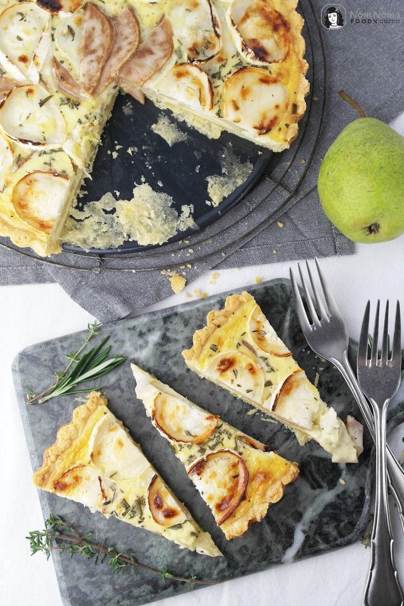 Rezept Birnen-Ziegenkäse-Quiche mit Parmesan-Boden