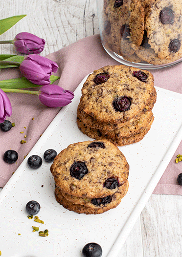 Rezept Blaubeer Cookies mit Pistazien (Rezept von Christophe Michalak)