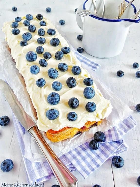 Rezept Blaubeer-Orange Kuchen mit Frischkäse Buttercreme
