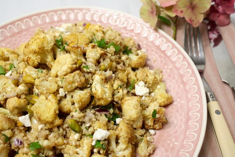 Rezept Blumenkohl, geröstet mit Quinoa, Feta und Pistazien