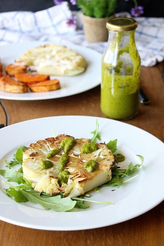 Rezept Blumenkohl - Steaks mit  Rucola - Pesto