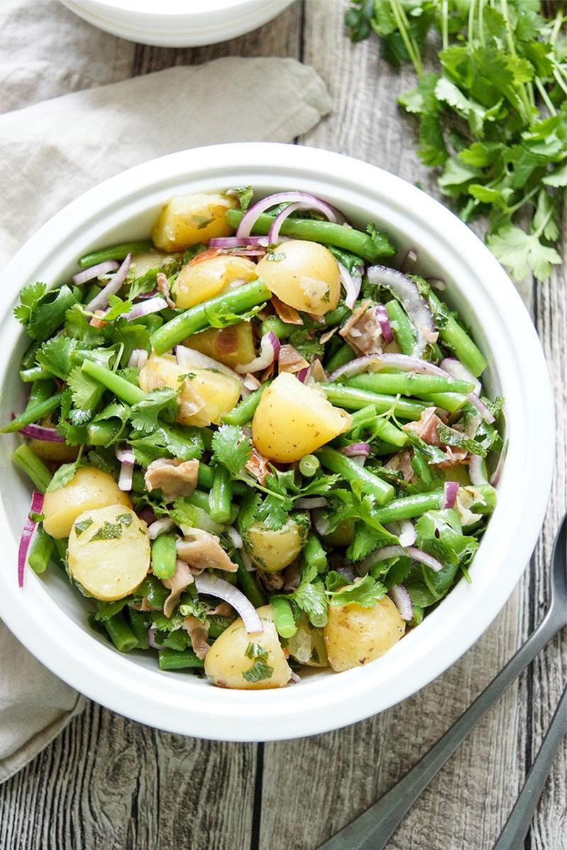 Rezept Bohnensalat mit Kartoffeln und knusprigem Parmaschinken