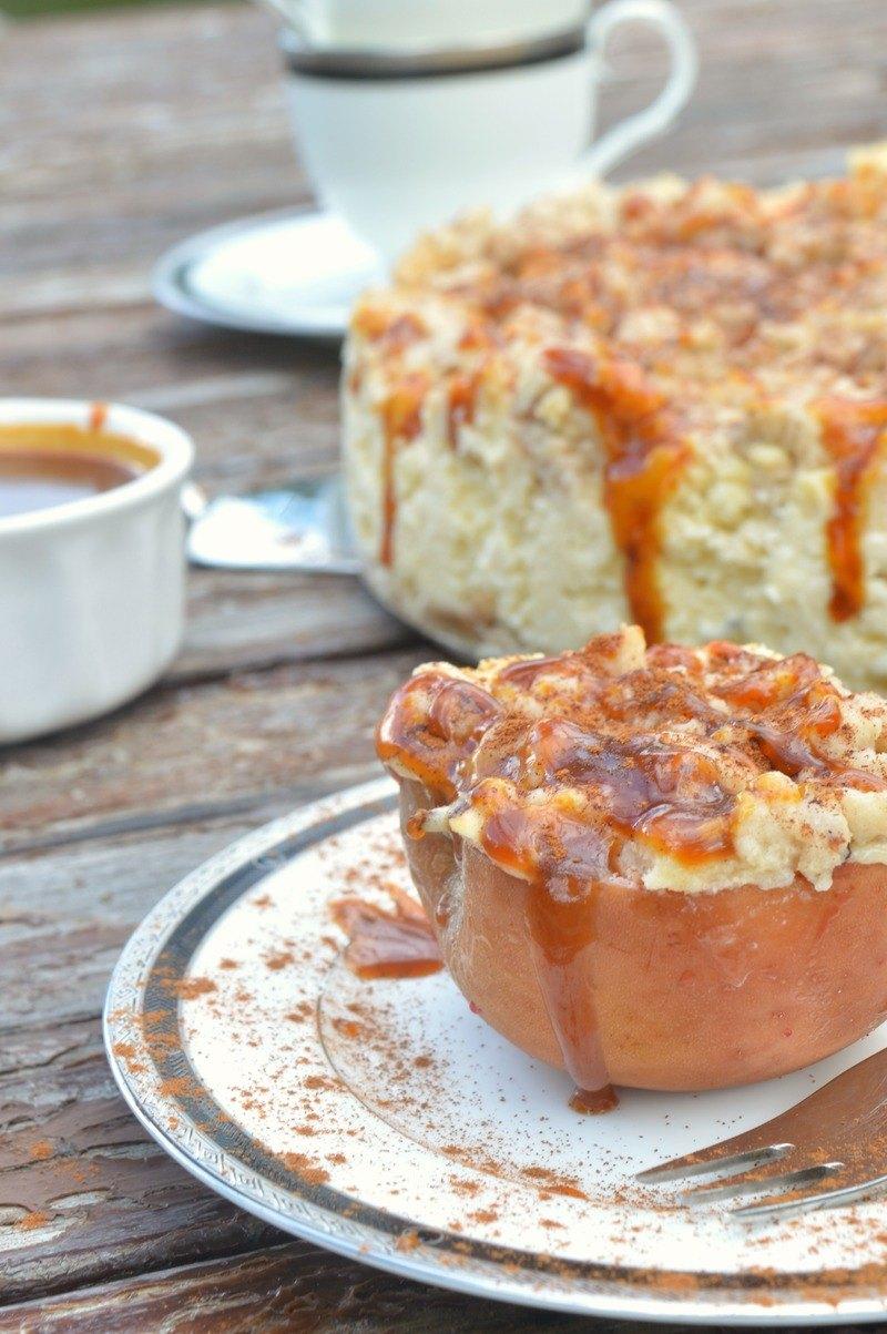 Rezept Bratapfel Marzipan Cheesecake mit Zimtstreuseln und Karamelltopping