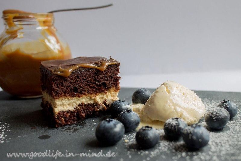 Rezept Brownie mit Cheesecream und Karamell