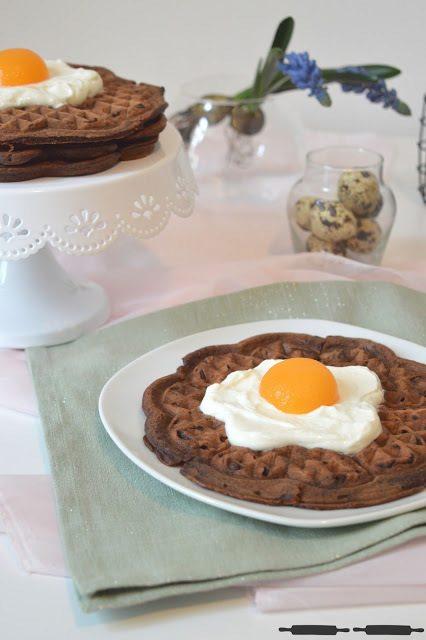 Rezept Brownie Waffeln mit Spiegeleitopping