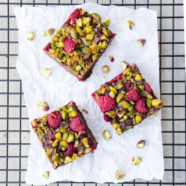 Rezept Brownies mit Pistazien und Himbeeren