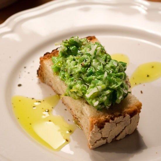 Rezept Bruschetta mit Erbsen-Minz-Püree