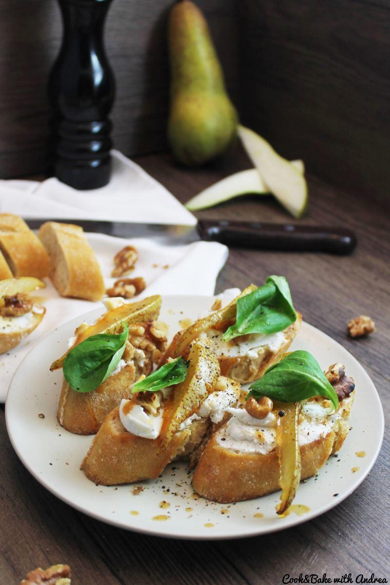 Rezept Bruschetta mit Ziegenkäse, Walnüssen und Birnen