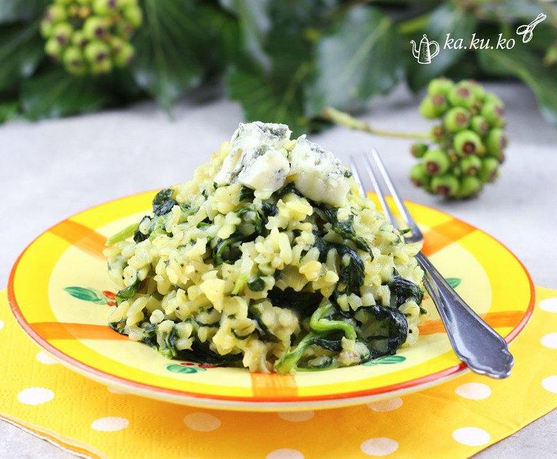 Rezept Bulgur-Blattspinatpfanne mit Gorgonzola