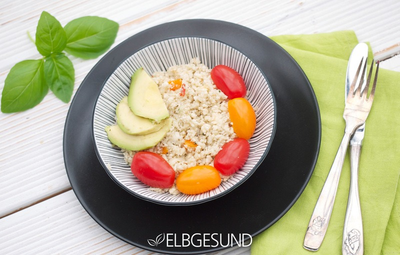 Rezept Bunter Blumenkohlcouscous – low carb und ideal für Abendschmaus und Mittagshitze
