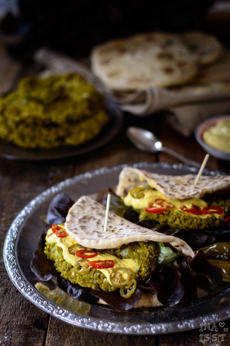 Rezept Burger Indian Style: Schneller Naan Burger mit Erbsenpatty