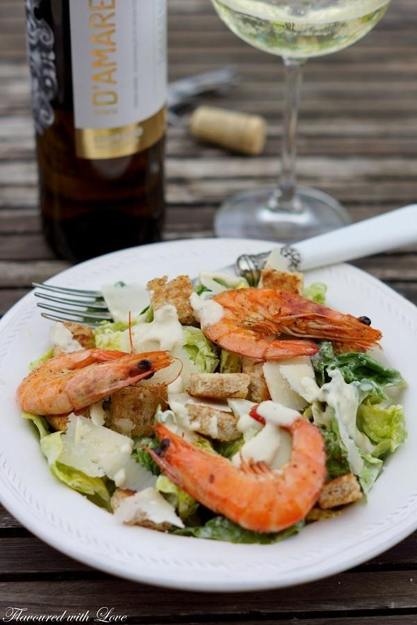 Rezept Caesar Salad mit Garnelen