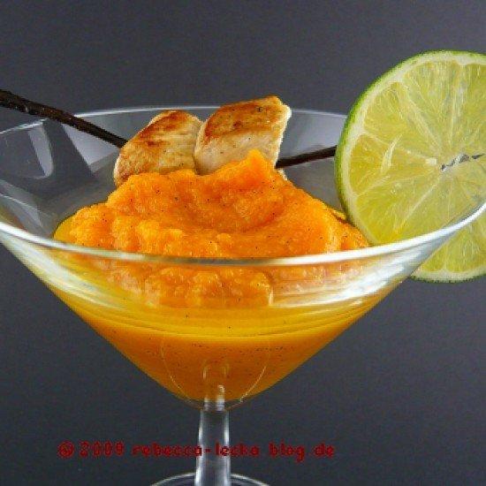 Rezept Canapé von Vanille-Karottenpüree mit Geflügelspießen