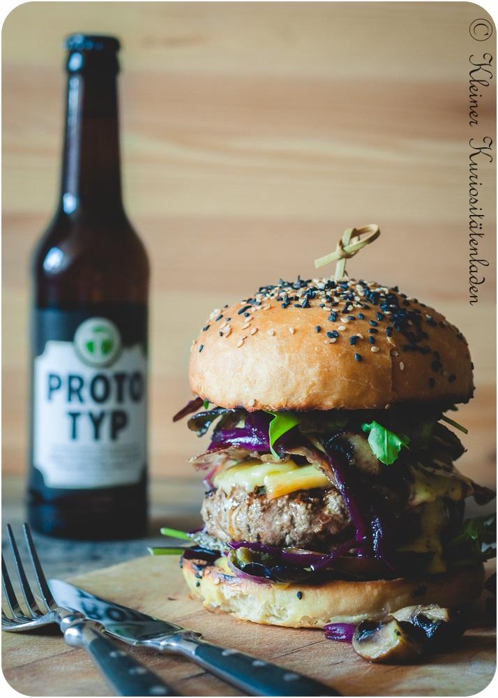 Rezept Champignonburger mit Portweinzwiebeln