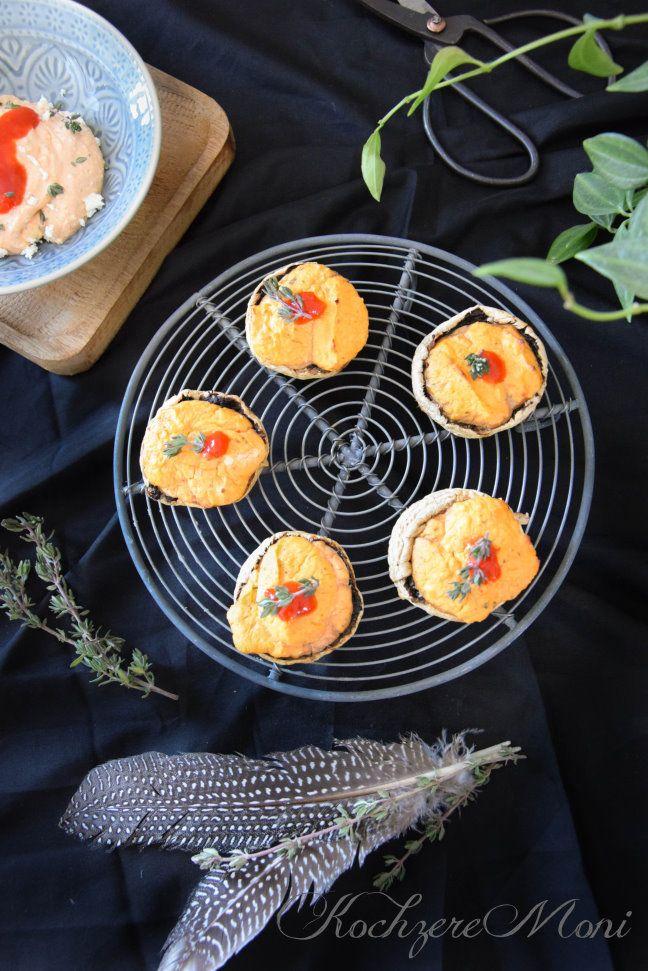 Rezept Champignons mit Ajvar Feta Cremefüllung