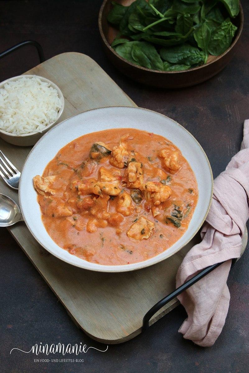 Rezept Chicken Tikka Masala mit Blumenkohl und Spinat