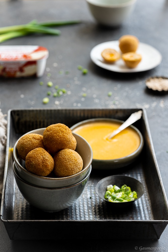 Rezept Chili-Cheese-Chickenballs mit Chili-Cheese-Dip