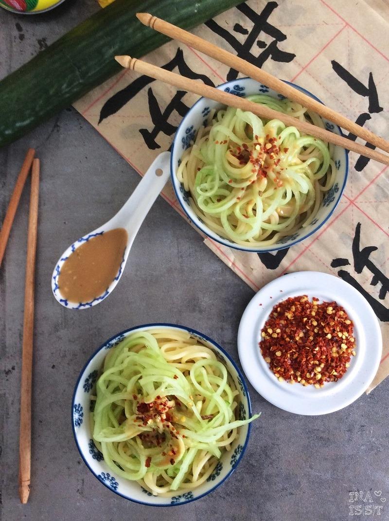 Rezept Chinesischer Nudelsalat mit Gurke und Erdnussdressing