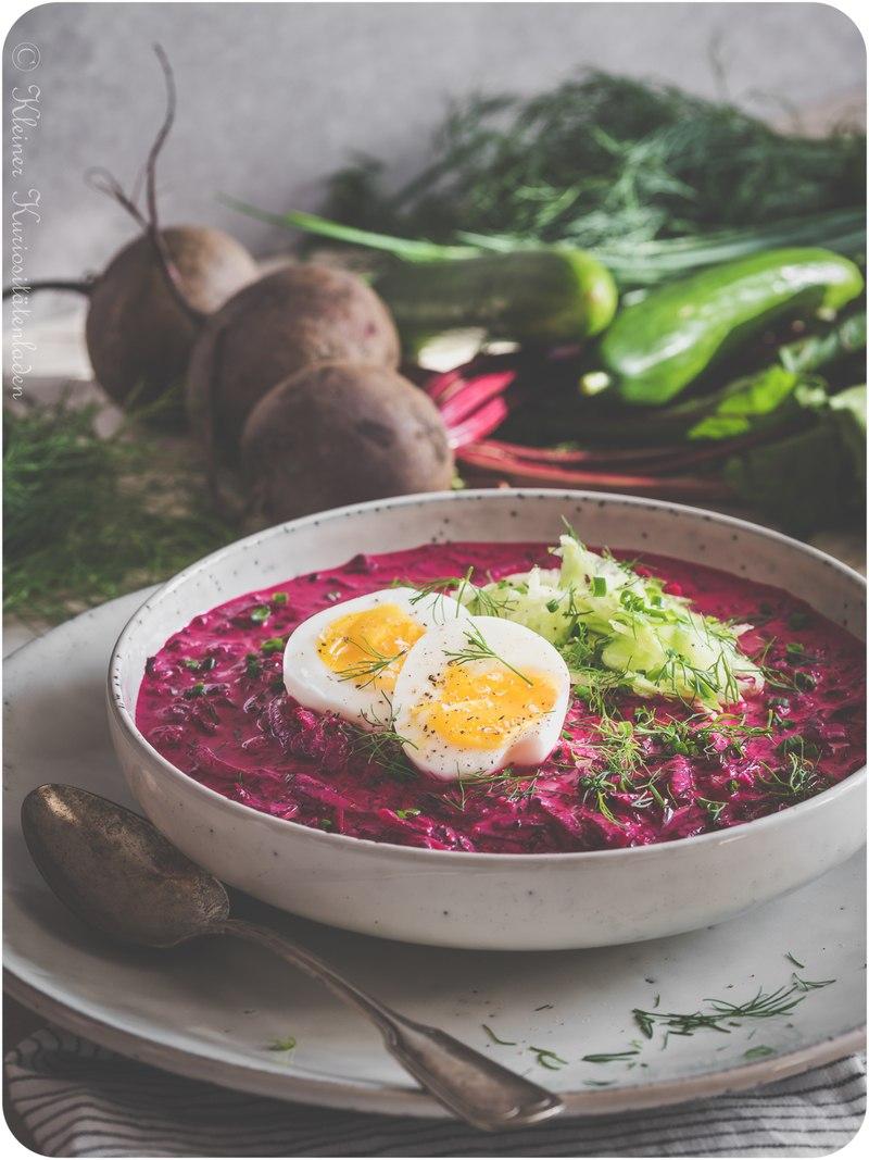 Rezept Chlodnik ~ Kalte Rote-Bete-Suppe mit wachsweichem Ei