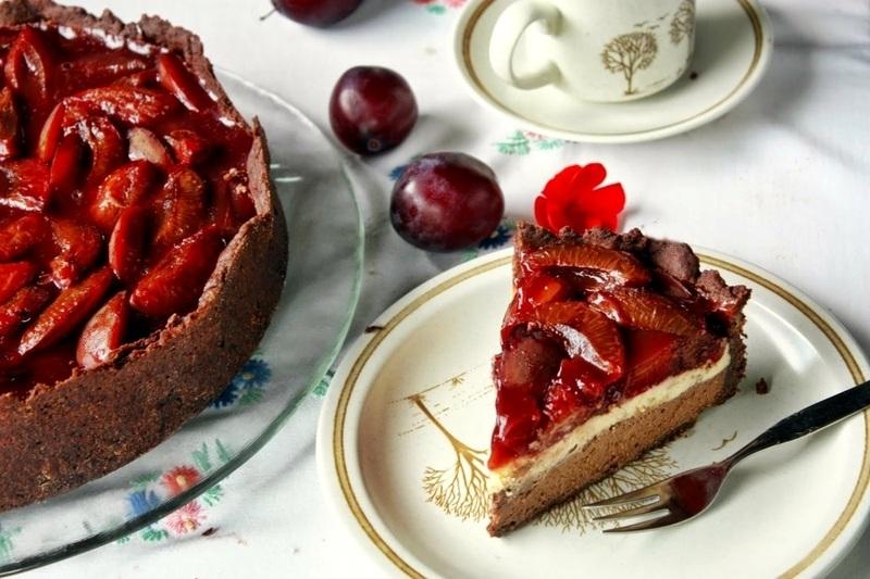 Rezept Chocolate Vanilla Cheesecake mit Portwein Zwetschgen