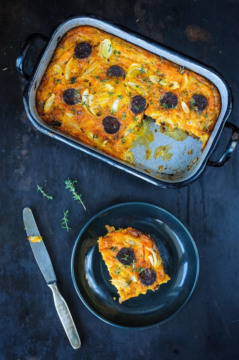 Rezept Chorizo Süßkartoffel Tortilla, im Ofen gebacken