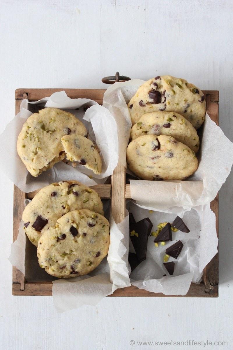 Rezept Cookies mit dunkler Schokolade und Pistazien