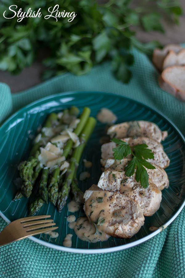 Rezept Coq au vin mit grünem Spargel