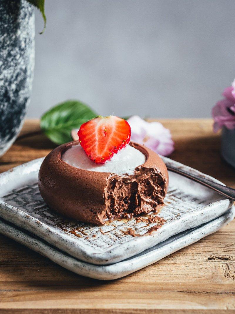 Rezept Cordyceps Schokoladenmousse mit Kokos Panna Cotta Topping