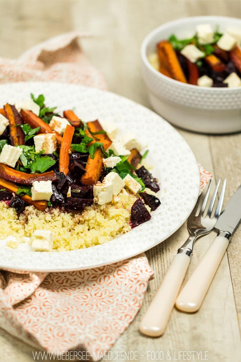 Rezept Couscous mit roter Beete und Karotten aus dem Ofen