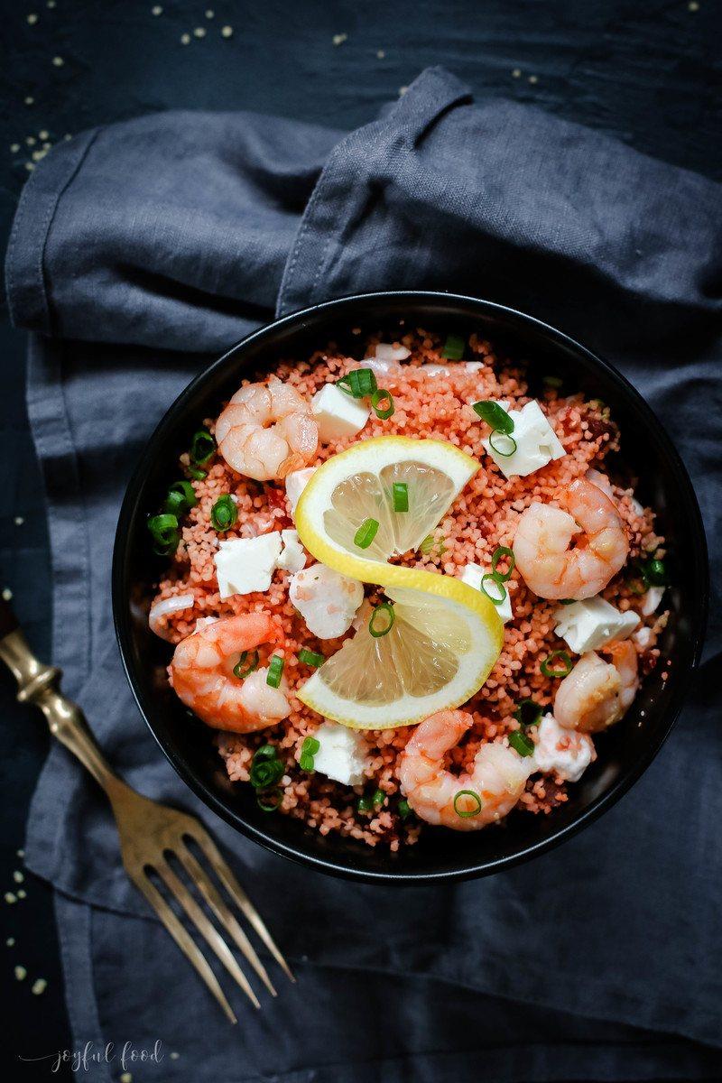 Rezept Couscous Salat mit Rote Beete, Feta und Garnelen